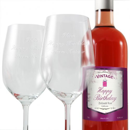 Personalised Birthday Rose Wine and Two Glasses